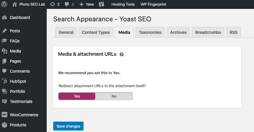screenshot showing media settings in Yoast illustrating the article 'Will Deleting Photos Hurt my SEO?'