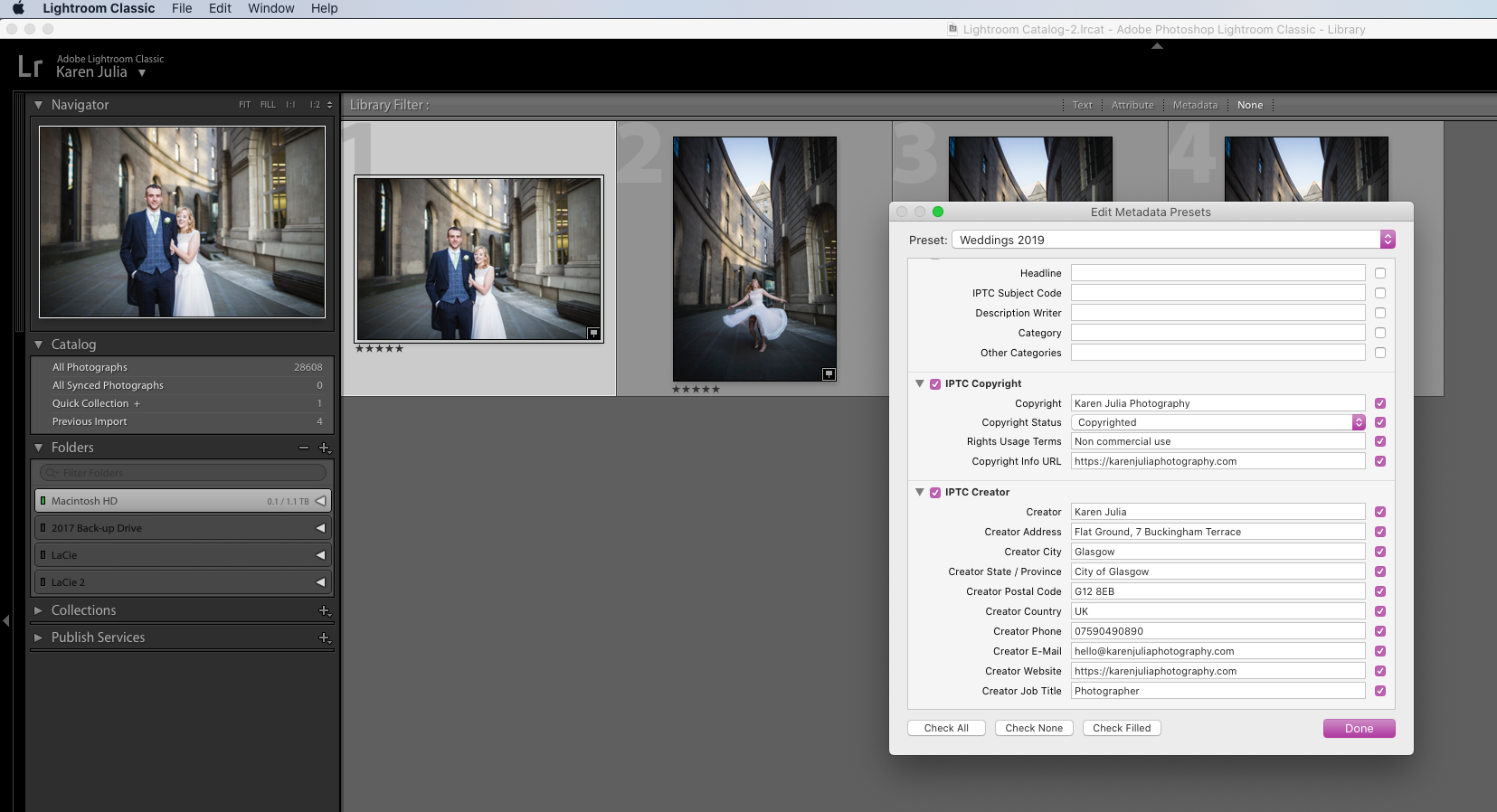 Screenshot showing Adobe Lightroom IPTC Image License Metadata boxes completed