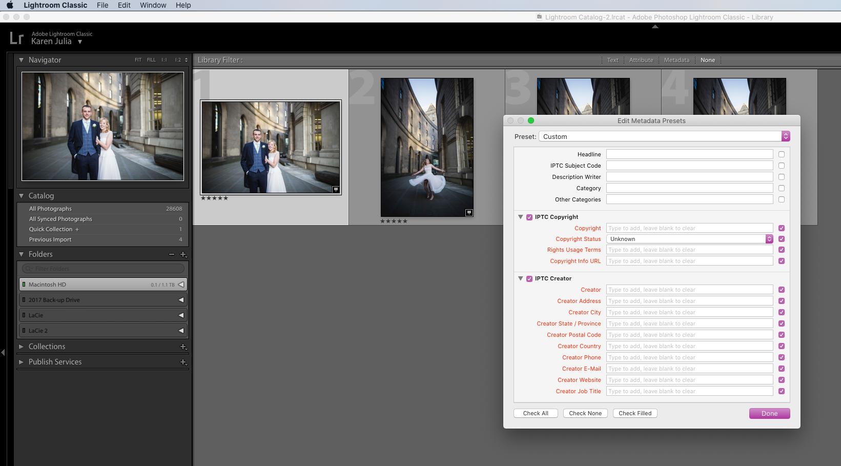 Screenshot of IPTC Image License Metadata boxes in adobe Lightroom