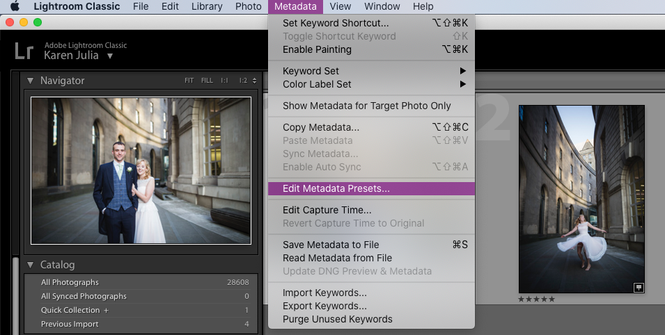 Screenshot of Adobe Lightroom showing metadata options within the Library module