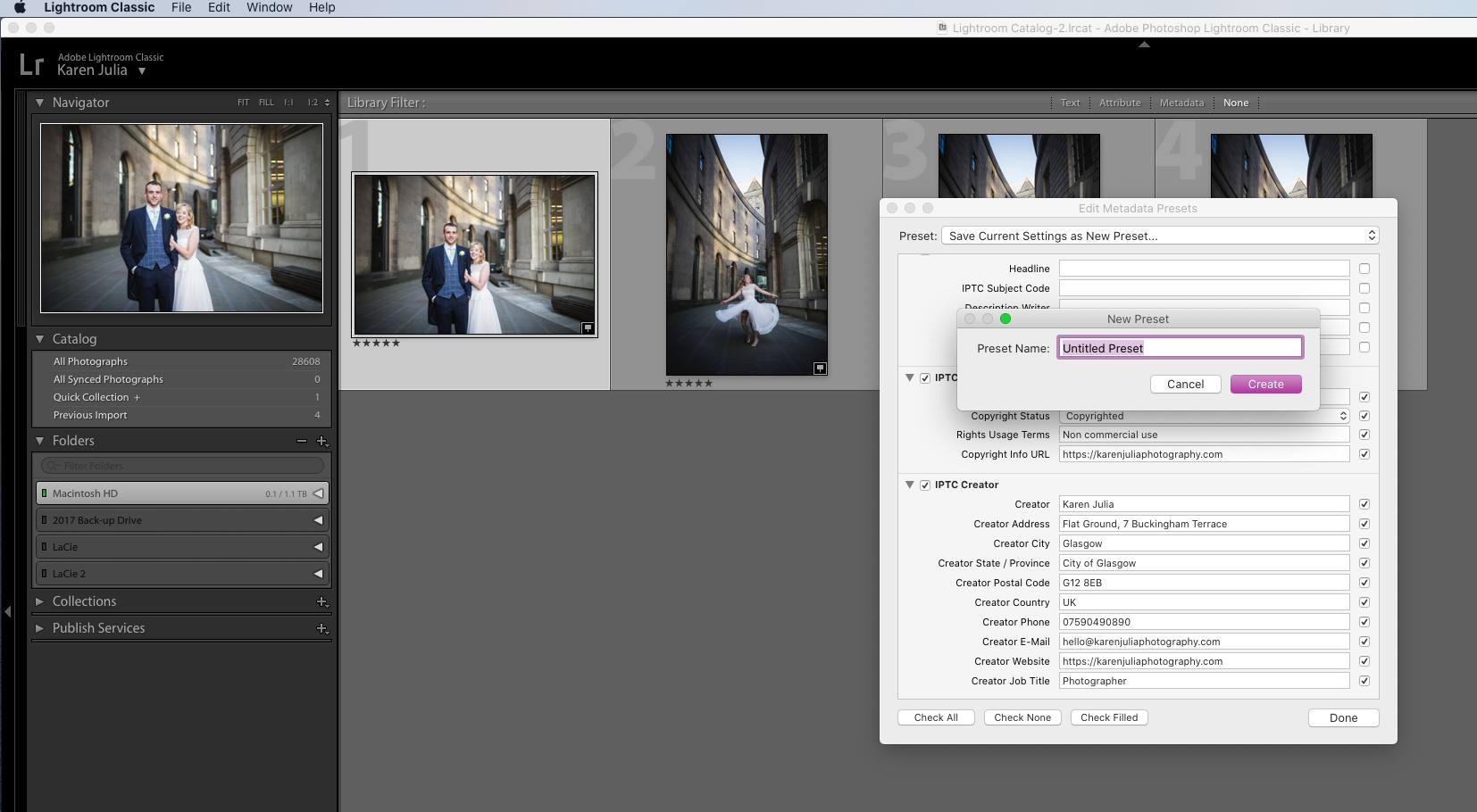 Screenshot showing how to save Image License Metadata preset in Lightoom