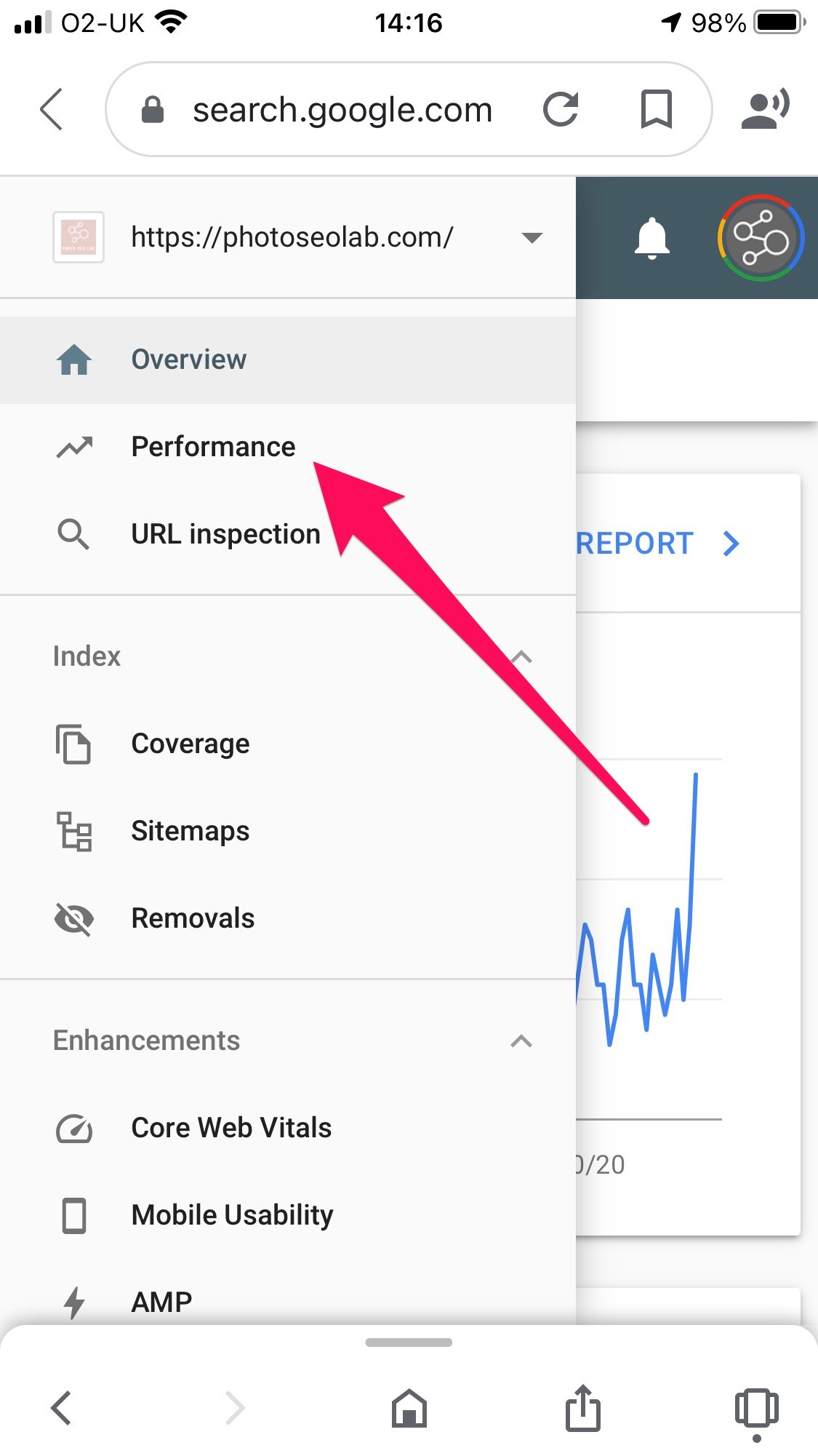 screenshot of options page within Google Search Console