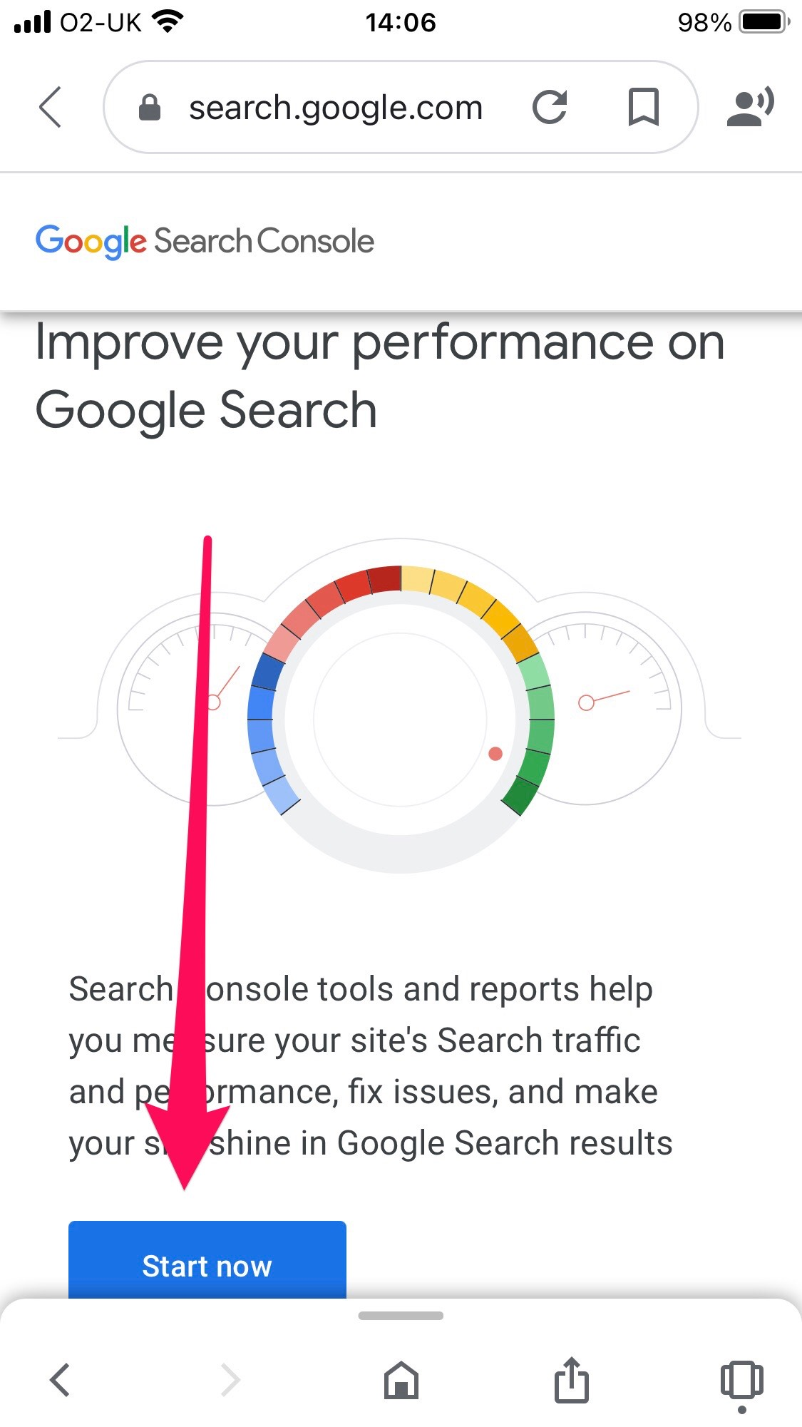 photo shows a screenshot of Google Search Console home page
