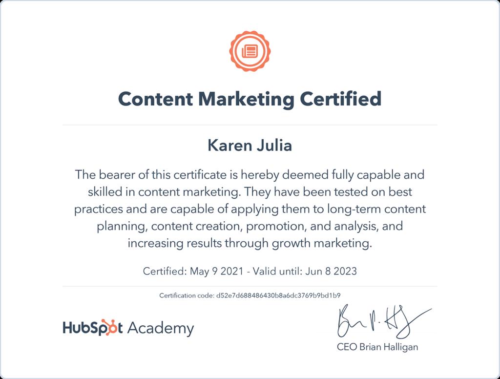 Hubspot Content Marketing Certification for Karen Julia