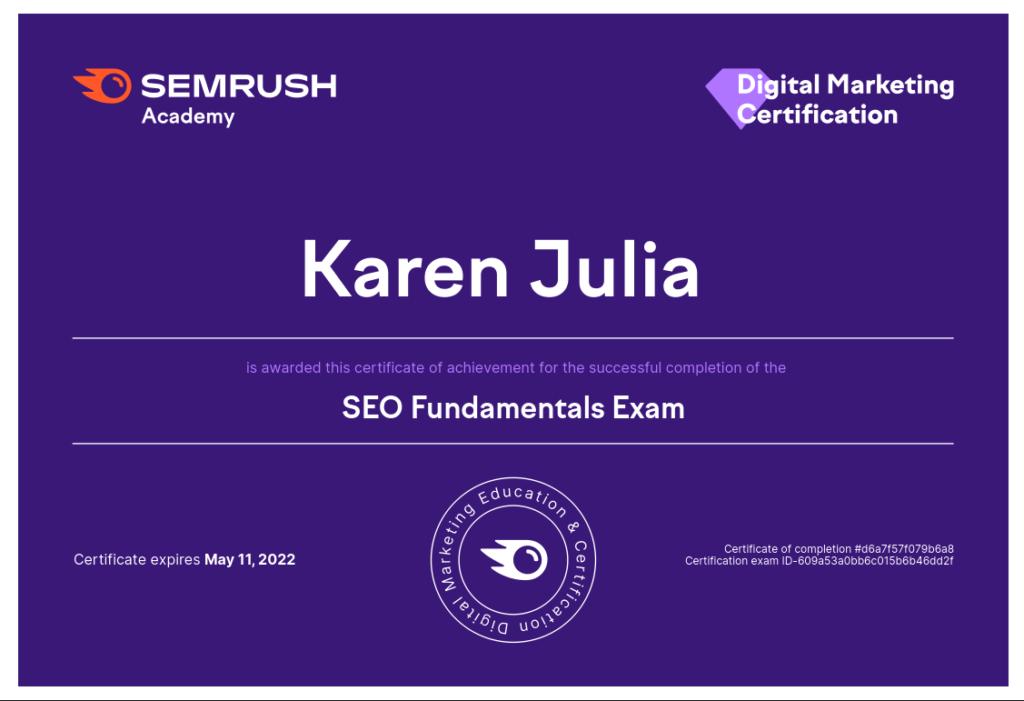 SEMRUSH academy digital marketing certification