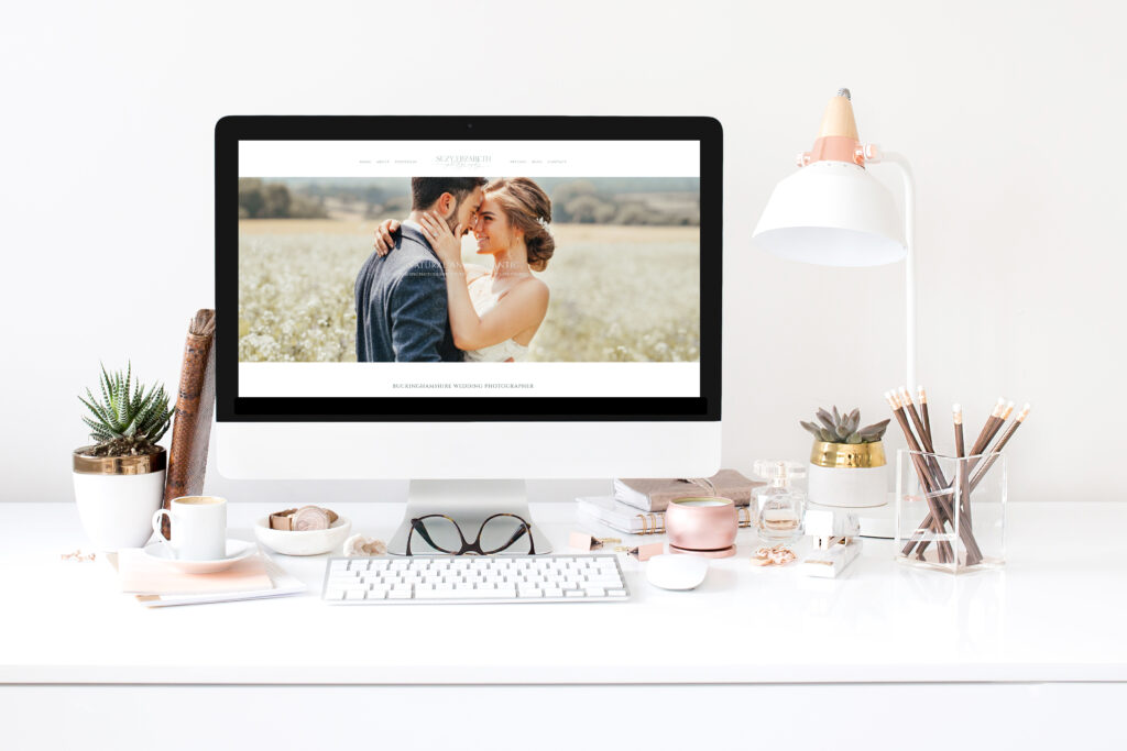 graphic showing a UK wedding photographer website on a computer mock-up